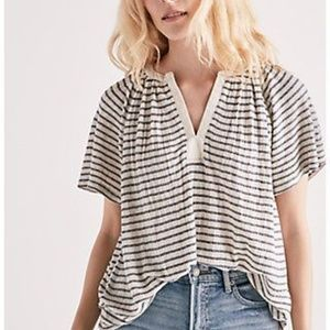 [Lucky Brand] Stripe Drop Needle Knit Top